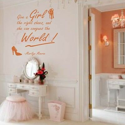 MARILYN MONROE Girl Right Shoes Canquer World wall Quote sticker decal art vinyl