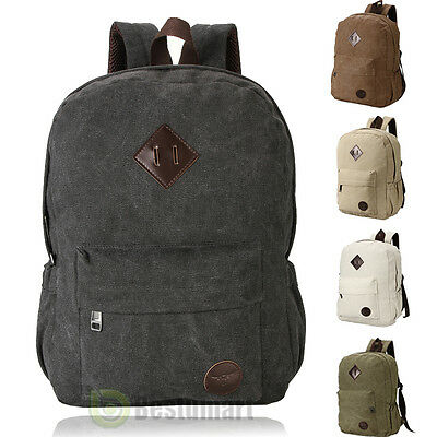 Bag Canvas Men's Vintage Backpack Rucksack Laptop Shoulder Travel Camping Bag YM