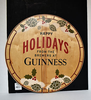 "Guinness Happy Holidays 21"" Diameter Wood Bar Sign New"