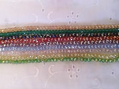 1000 crystal cut glass rondelle 4mm beads