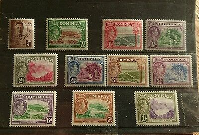 Dominica -1938 George VI - Definitive set to 1/-. Very fresh MM.