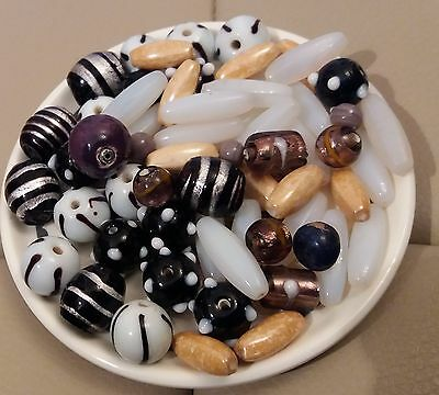 Mixed Job Lot.over 55 Vintage Glass Beads Nice Quality Loose Beads