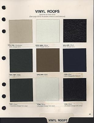 "1973 Dodge ""Vinyl Roofs"" Color & Upholstery manual, 2 pages"