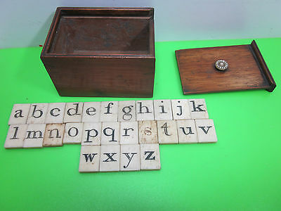Antique Georgian Victorian Child's Teaching Writing Aid Toy Game Old Alphabet
