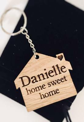 Personalised Wooden Keyring Gift Birthday House First Home Sweet Home