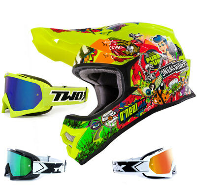 Oneal 3Series Helm Crank neon gelb TWO-X Race MX Brille Crosshelm Endurobrille