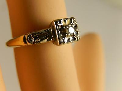 14k GOLD Diamond ENGAGEMENT RING size 5 1/2 Vintage Yellow White