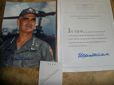 Vietnam War General William Westmoreland Historical Letter and Photo three items