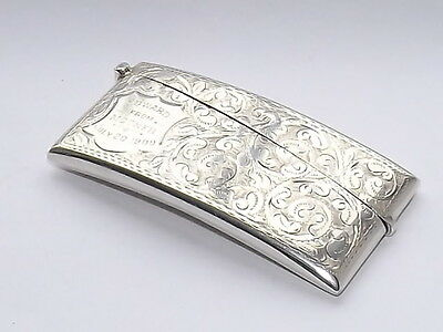 Splendid Antique Edwardian Hm Solid Silver Sterling Card Case Birmingham 1907
