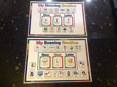 morning evening routine chart Autism ASD SEN educational visual reminder