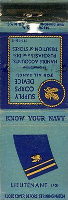 Know Your Navy, Lieutenant, Supply Corps Device Matchbook