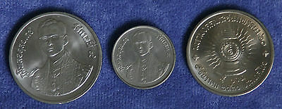 1987 King Bhumibol Adulyadej 60 Birthday Unc 3 Coin Set 2,5 & 10 Baht Rama IX b