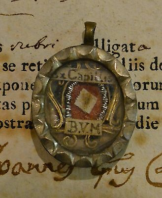 shrine relicario relic reliquary HAIR B.VIRGIN MARY WITH DOCUMENT DATED 1790