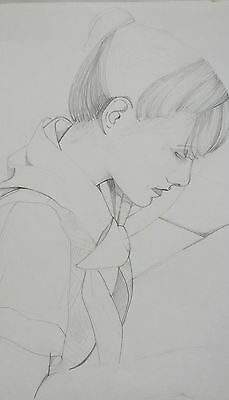 PORTRAIT OF A GIRL - STUNNING ORIGINAL PENCIL DRAWING BY JULIA DEE c.1978