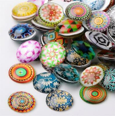 10 x ROUND MOSAIC PRINTED CLEAR GLASS DOMED CABOCHONS 20mm