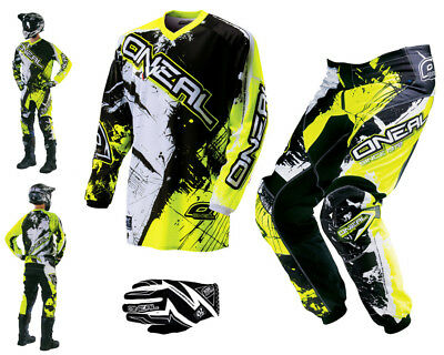 ONEAL Element Shocker neon gelb Combo & Handschuhe Motocross Enduro