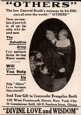 Early Ad Salvation Army Late General Booth  Photo Poor Family Evangeline