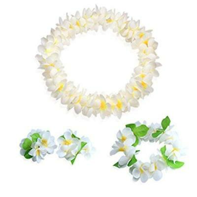 Hawaiian Luau white flower Leis Jumbo necklaces bracelets headband set New