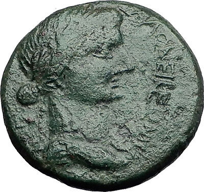 TIBERIUS & mother LIVIA , Augustus Wife THESSALONICA Macedonia Roman Coin i58623