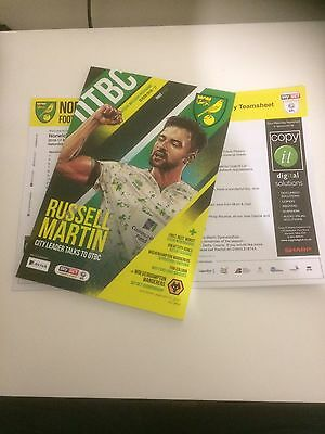 NORWICH CITY v WOLVERHAMPTON WANDERERS 2016-17 OFFICIAL PROGRAMME & TEAMSHEET