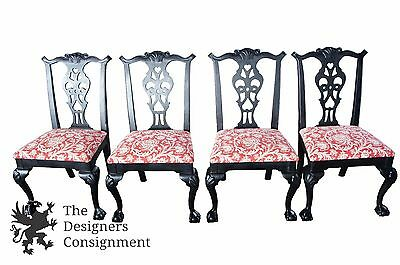4 Century Chair Co Chippendale Style Dining Chairs Ball & Claw Upholstered Seat