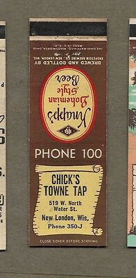 Chick`s Towne Tap Knapp`s Beer New London Wisconsin Matchcover A435