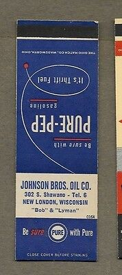 Johnson Bros Oil Co New London Wisconsin Flat Matchcover A435