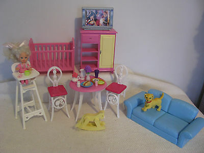 Barbie Doll Accessories Baby Cot Furniture Playset