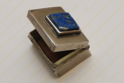 ANTIQUE SILVER + Lapis Rectangular Snuff Pill Box_Wood Lined_Hinged