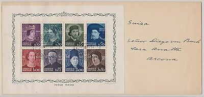 Portugal 1949 - Portraits mini sheet oncover VFU postally used - attractive