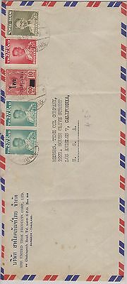 Thailand - nice Air Mail cover to the USA nice selection of stamps