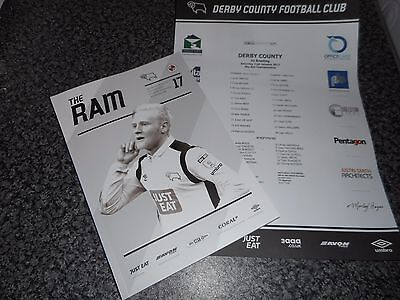 DERBY COUNTY  v  READING 2016/17 ~ JAN 21st   PROG+ TEAM SHEET EBAY BEST PRICE!!