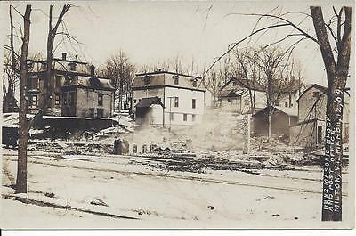 Real Photo,ruins Masonic Block And Post Office,milton,vermont,march 12,1909