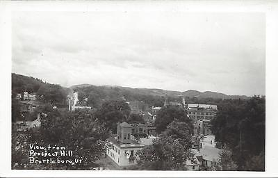 View From Prospect Hill, Brattleboro, Vermont, Real Photo,church Steeples,bldgs.