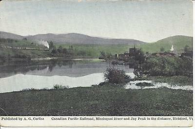 Canadian Pacific R.r.,missisquoi River & Jay Peak In The Distance,richford,vt.