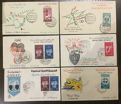 UAR United Arab Republic Egypt Palestine Army UNICEF 6 illustrated FDCs 1959 (21
