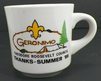 Vintage Boy Scouts 1986 Geronimo Theodore Roosevelt Council Summer Coffee Mug