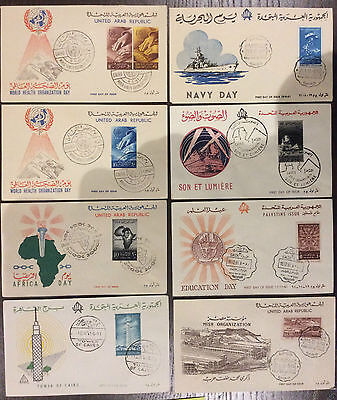 UAR United Arab Republic Egypt Navy Africa Sphynx 8 illustrated FDCs 1961 (25)