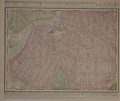 1895 Brooklyn, NY Antique Dated Atlas map* S. New York City back ..122 yrs-old