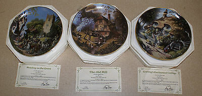 Set of 3 Danbury Mint Collector Plates Story of a Country Village Robert Hersey