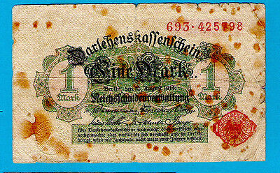 Germany P51 1 Mark  2nd Issue Red Serial # & Seal w/Brown Pattern 12.8.1914 aVF+