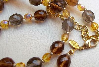 Joan Rivers Vintage Necklace Yellow & Brown Fire Polished Glass Beads