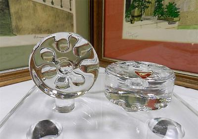 """Two Orrefors Sweden Crystal Small Round 2 3/8"""" Candle Holders Original Sticker"""