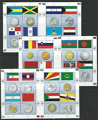 United Nations 2010 Coin and Flag MNH Sheets From All 3 Offices