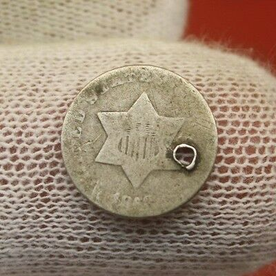 1853 SILVER THREE CENT PIECE #X726 holed antique trime coin history 3