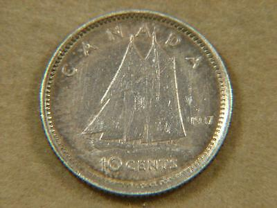 1937 Canada 10 Cents Silver Coin