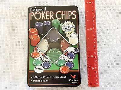 Cardinal Professional Poker Chips 100 Dual-Toned Instructions Texas Hold 'Em TIN