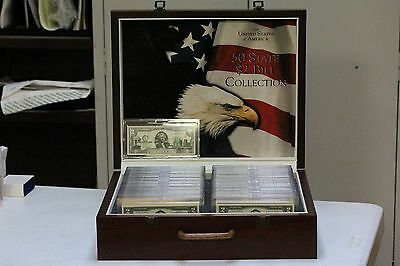 World Reserve Monetary Exchange 50 State $2 Bill Collection In Mahogany Case