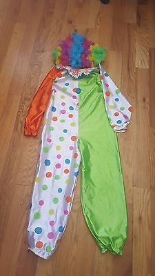 HALLOWEEN COSTUME Happy Birthday Clown Unisex Child 10 Green Polka Dot+Curly Wig