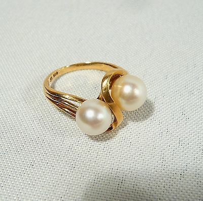 Solid 14 K GOLD & Double 7.5mm  PEARL RING  Ladies Size 6 1/2  4.3 grams
